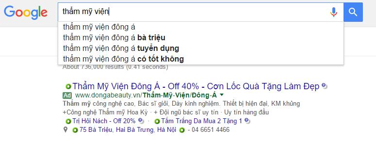 Tìm kiếm TMV Đông Á với Google